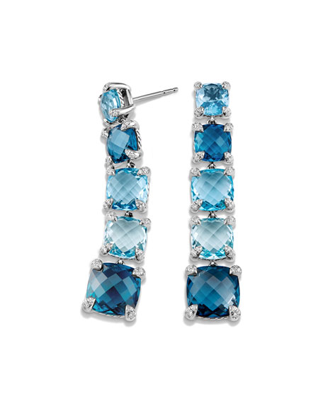 Graduated Blue Topaz Drop Earrings with Diamonds