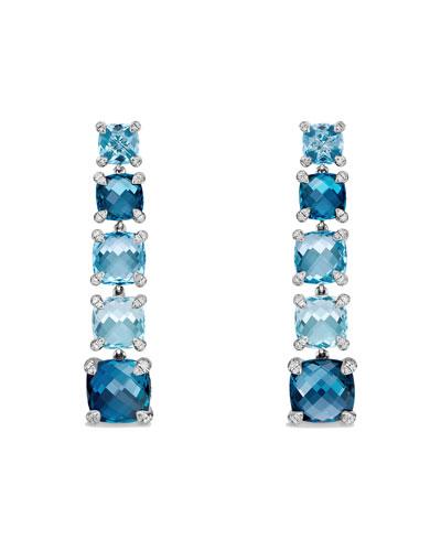 Graduated Blue Topaz Drop Earrings with Diamonds