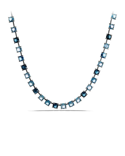 9mm Châtelaine Linear Blue Topaz Necklace with Diamonds