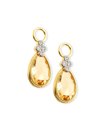 Provence Pear Champagne Citrine Earring Charms with Diamonds