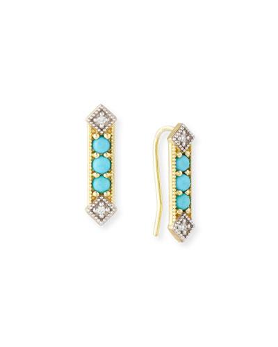 Lisse Turquoise & Diamond Bar Stud Earrings