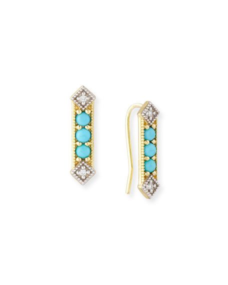 JudeFrances Jewelry Lisse Turquoise & Diamond Bar Stud