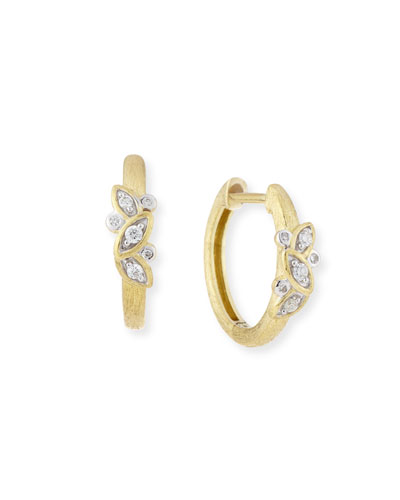 Sonoma Single Leaf Hoop Earrings with Diamonds