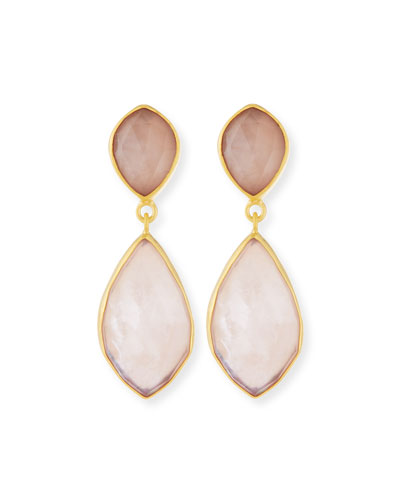 Rose Quartz Double-Drop Earrings