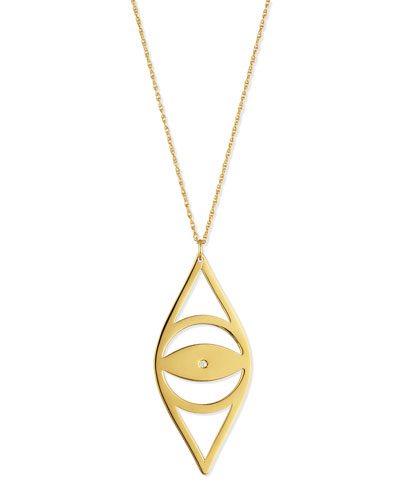 Alba Evil Eye Pendant Necklace with Diamond, 30