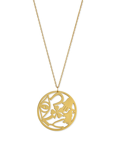 Eden Medallion Pendant Necklace with Diamond, 25