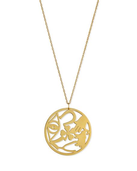 """Eden Medallion Pendant Necklace with Diamond, 25""""L"""