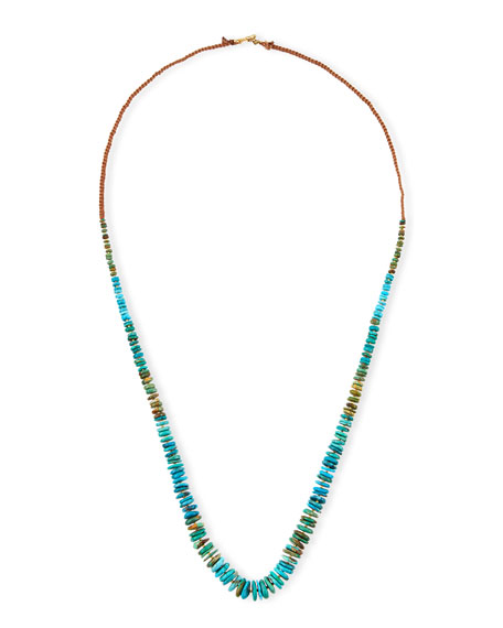 Chan Luu Long Turquoise Rondelle Necklace