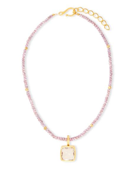 Dina Mackney Beaded Pink Sapphire & Milky Quartz