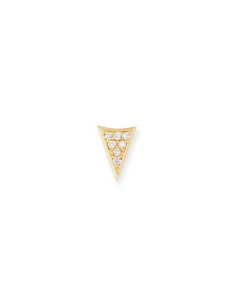 14K Gold Triangle Stud Earring with Diamonds
