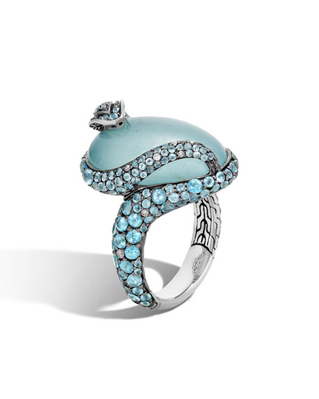 John Hardy Legends Cobra Aquamarine & Diamond Ring with Diamonds, Size 7 ...