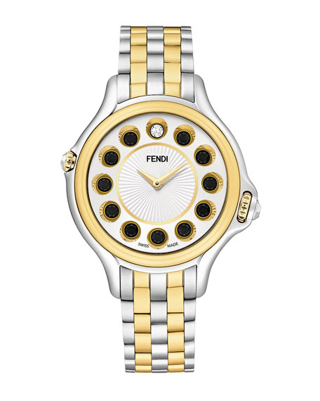 38mm Crazy Carats 18K Gold & Stainless Steel Watch, 0.07 tdcw