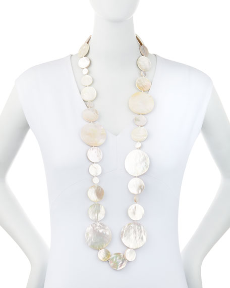Long Mother-of-Pearl Disc Necklace, 42""