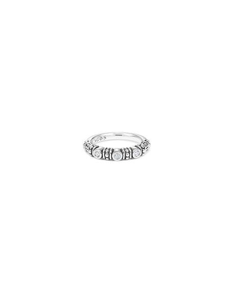 Bezel-Set Diamond & Caviar Stacking Ring, Size 7
