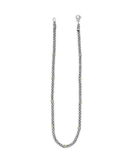 """Sterling Silver & 18K Caviar Station Necklace, 16"""""""
