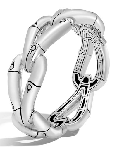 Bamboo Sterling Silver Hinged Link Bracelet