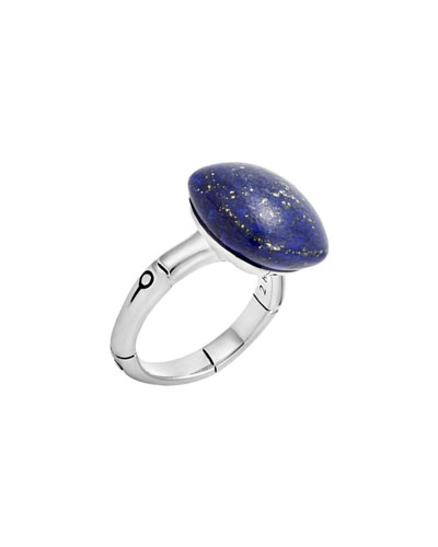 Bamboo Cushion Lapis Ring, Size 7