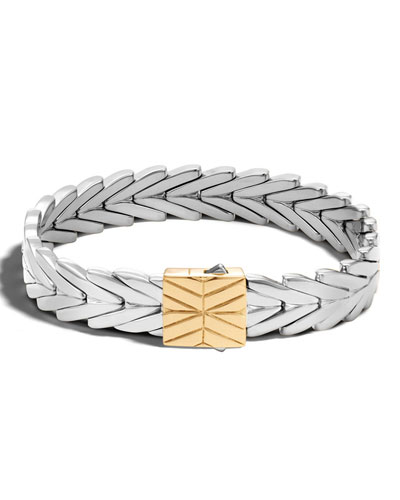 Modern Chain Gold/Silver 11mm Rectangular Bracelet with Pusher Clasp, Size M