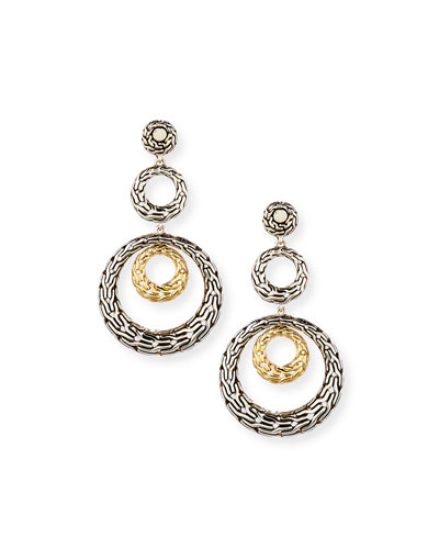 Classic Chain Three-Hoop Drop Earrings