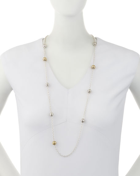 Dot Gold & Silver Large Ball Station Necklace, 36""