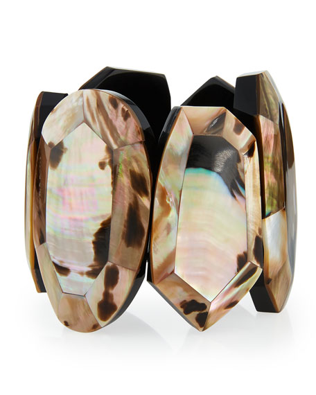 Viktoria Hayman Faceted Mother-of-Pearl Statement Bracelet