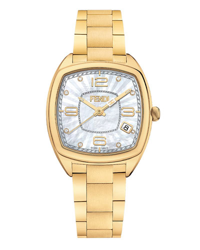 Momento Fendi Stainless Steel Watch, Golden