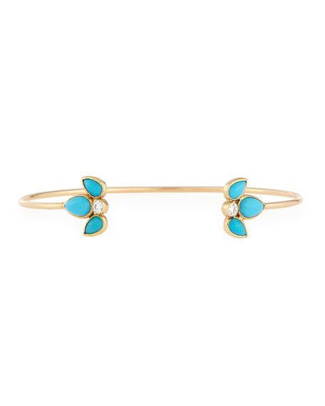 14K Turquoise & Diamond Starburst Cuff Bracelet
