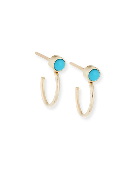 14K Turquoise Bezel Huggie Hoop Earrings