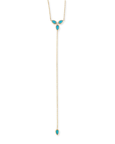 Teardrop Turquoise & Diamond Lariat Necklace