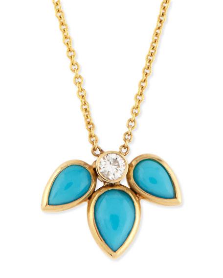 Teardrop Turquoise & Diamond Half-Starburst Necklace