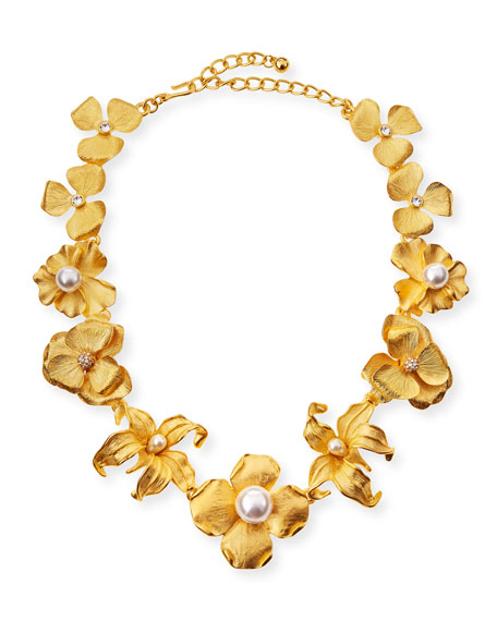 Kenneth Jay Lane Golden Flower Statement Necklace with