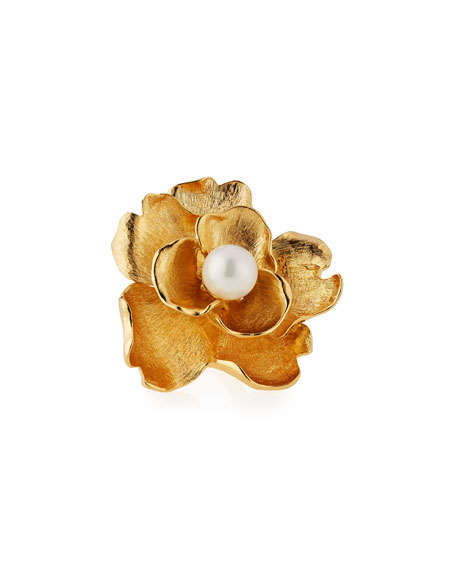 Kenneth Jay Lane Golden Pearly Flower Cocktail Ring