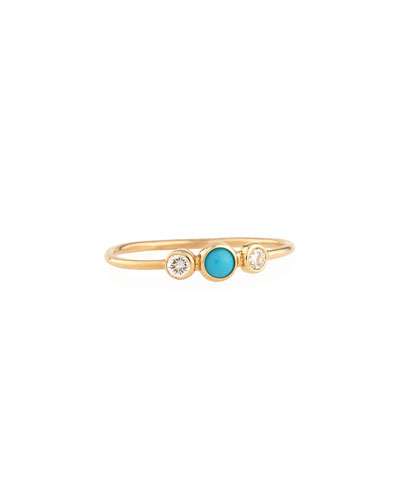 Round Turquoise & Diamond Bezel Ring