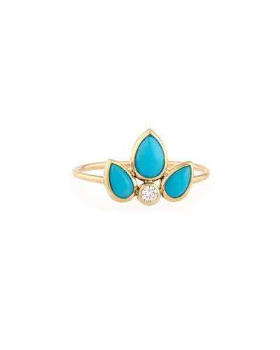 Turquoise & Diamond Starburst Ring