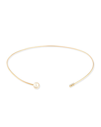 14K Diamond Trio & Pearl Collar Necklace