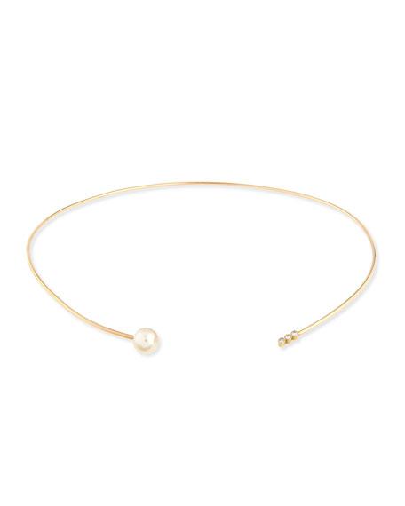 14K Diamond Trio & Pearl Collar Necklace