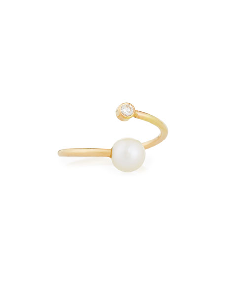 14K Gold Pearl & Diamond Bypass Ring