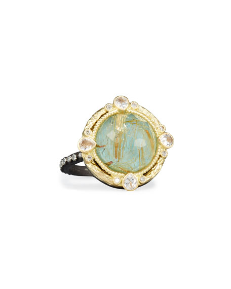 Old World Midnight Turquoise & Quartz Doublet Ring with Diamonds