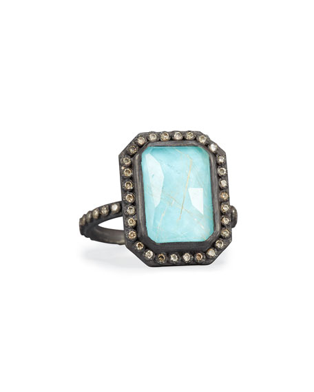 Armenta Old World Midnight Turquoise & Quartz Doublet