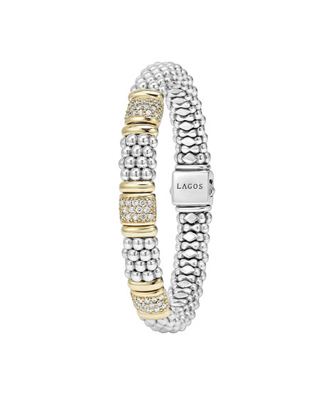 18K Gold & Diamond Three-Station Bracelet