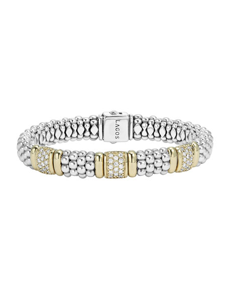 Lagos 18K Gold & Diamond Three-Station Bracelet
