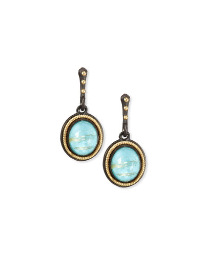Old World Midnight Oval Doublet Drop Earrings