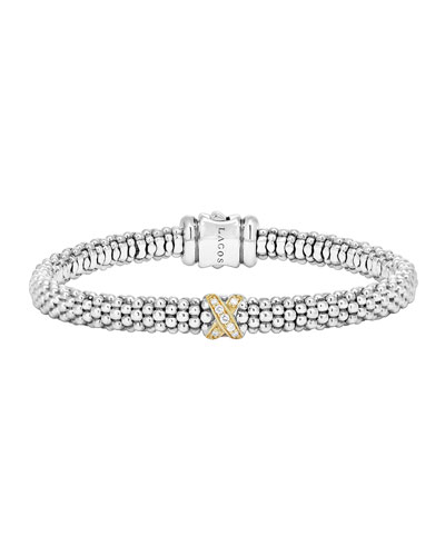 Caviar Pave Diamond Bracelet, 6mm