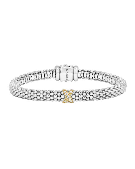 Lagos Caviar Pave Diamond Bracelet, 6mm