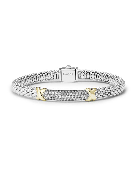 LAGOS 6mm Large Pavé Diamond Rope Caviar Bracelet