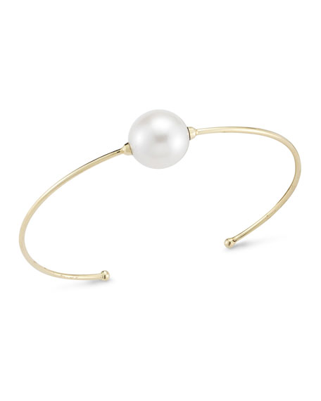 Mizuki 14k Yellow Gold, Pearl & Diamond Cuff, Large