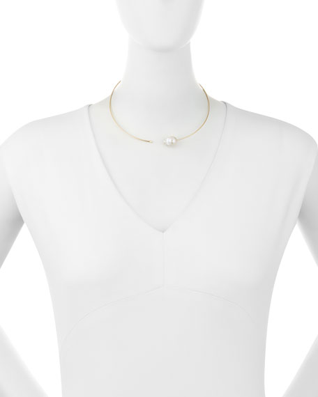 14K Small Pearl & Diamond Collar Necklace