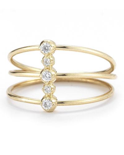 14K Three-Band Diamond Ring