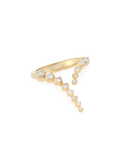 14K Gold Curved Diamond Ring