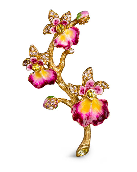 Jay Strongwater Halie Orchid Branch Pin